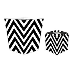 """Marye Kelley - Marye Kelley Black and White Chevron Decoupage Wastebasket with Optional Tissue - This is a handmade decoupage wastebasket with optional tissue box.  All items are handmade in the USA.  There are three different styles available.  There is the 12"""" Fluted Tin Design, the 11"""" Square Design with a flat top or the 11"""" Square design with a scalloped top.  Coordinating tissue boxes may also be made. Please note all items are custom made and may not be returned."""
