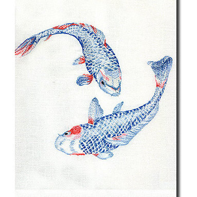 Koi Guest Towel - I know people are usually afraid to even use guest hand towels this pretty, but that's okay. These lovely koi will add an unexpected and colorful detail to your bathroom.