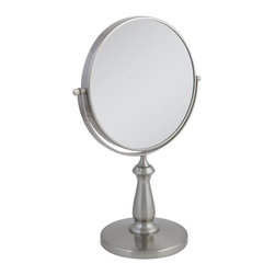 Zadro Products - Zadro 8X/1X Swivel Satin Nickel Vanity Mirror Multicolor - VAN48 - Shop for Bathroom Mirrors from Hayneedle.com! The traditional style and dual-sided function of the Zadro 8X/1X Swivel Satin Nickel Vanity Mirror will add appeal and convenience to your dressing area or bathroom. Finished in the subtle style of satin nickel this 2-sided mirror moves smoothly in a swivel mount providing 9.5 inches of 1X or 8X magnification.About Zadro ProductsZadro Products has been a leading innovator in bath accessories mirrors cosmetic accessories and health products for over 25 years. Among the company's innovations are the first fogless mirror first variable magnification mirror first surround light mirror and more. Not a company to rest on its laurels Zadro continues to adapt to the ever-changing needs of modern life.