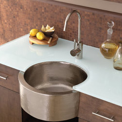 Fiesta Copper Bar Sink by Native Trails - Simply stunning - Native Trails has created Fiesta copper sink, with its attention-getting curved apron front, to show off the hand hammered texture. Conversation starter? Definitely. Life of the party? Very likely! And Native Trails offers the truly alluring Fiesta in rustic Antique or glamorous Brushed Nickel finishes. Perfecto!