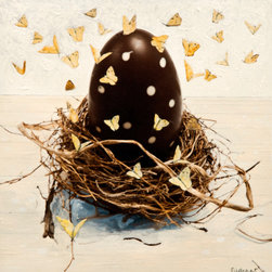 Swarm #2 - Original Collage Painting - This whimsical collage painting of a large chocolate egg and nest comes framed and ready to hang.