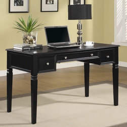 Wildon Home � - Hartland Drawer Writing Desk - This lovely table desk will be a nice addition to your home, with a classic look that will blend beautifully with your home decor. The generous top surface offers plenty of space to work, with a power plug hidden under a cover for quick and easy use of your electronics. Two storage drawers will hold all of your work essentials, while a center keyboard drawer with a drop front makes computer use a cinch at this desk. Classic molding, and tapered shaped legs create a timeless style, in a rich Black finish. Simple Nickel finished knobs accent each drawer front, for the perfect finishing touch. Add this gorgeous table desk to your home office, living room, or bedroom, for an instant style update and a lot of added function in your space. Features: -Desk.-Two storage drawers and a keyboard drawer with power plug.-Keyboard rollout tray.-Rich Black finish.-Nickel finished knobs.-Hartland collection.-Distressed: No.-Collection: Hartland.Dimensions: -Dimensions: 30.25'' Height x 26'' Width x 50'' Depth.-Overall Product Weight: 86.46 lbs.Assembly: -Assembly required.