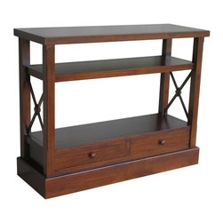EuroLux Home - New Console Walnut Painted Hardwood Cross - Product Details