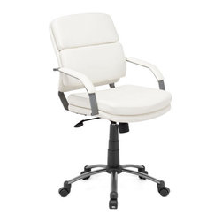 ZUO - Director Relax Office Chair - White - Elegance goes full tilt with the Director Relax Office Chair. In snowy white or stern black, the leatherette wrapped seat and back cushions rest on an epoxy coated steel frame. Adjustable height and tilt.