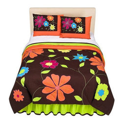 "Bacati - Valley of Flowers Comforter Set in Bright Multi - Features: -Set includes one comforter and two shams (One sham per Twin set). -Available in Twin and Full/Queen sizes. -Part of the Valley of Flowers Collection. -100% cotton. -Polyester fill. -Chocolate brown with bright floral pattern with appliqu and embroidery. -Appliqus design, embroidered details. -Machine wash cold. -Dimensions: 20"" Height x 3"" Width x 20"" Depth."