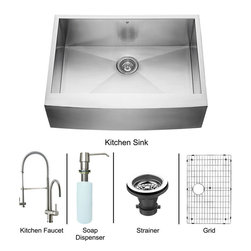 Vigo - All in One 30in.  Farmhouse Stainless Steel Kitchen Sink and Faucet Set - Give your kitchen a fresh new look with a VIGO All in One Kitchen Set featuring a 30in.  Farmhouse - Apron Front kitchen sink, faucet, soap dispenser, matching bottom grid and sink strainer.