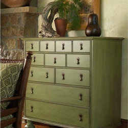 Nautical Whimsical Collection - Sage 11 Drawer Dresser Chest With Bun Feet.