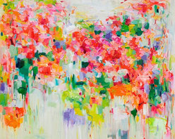 Siiso - Blooming Time - If you could drift through a flower field on the air's currents, it might feel something like this. Yangyang Pan's abstract floral painting captures those bright blossoms with energetic brushstrokes that maintain a sense of lifelike movement. Vividly reproduced in a high-quality giclee print, this piece makes spring happen right on your wall.