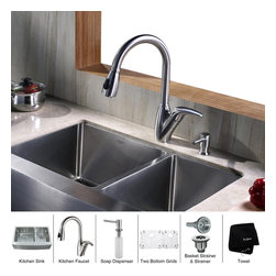Kraus - Kraus 33 inch Farmhouse Double Bowl Stainless Steel Kitchen Sink with Kitchen Fa - *Add an elegant touch to your kitchen with unique Kraus kitchen combo