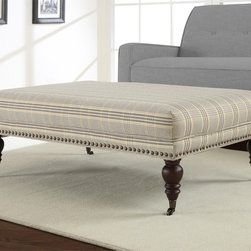 None - Flat Top Plaid Rectangular Ottoman - Kick-up your feet and relax in style with this comfortable rectangular ottoman. This beautiful ottoman features a classic plaid pattern in a yellow and charcoal grey fabric, allowing you to easily update the look of any space in your home.