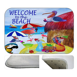 Beach Party Plush Bath Mat, 30X20 - Bath mats from my original art and designs. Super soft plush fabric with a non skid backing. Eco friendly water base dyes that will not fade or alter the texture of the fabric. Washable 100 % polyester and mold resistant. Great for the bath room or anywhere in the home. At 1/2 inch thick our mats are softer and more plush than the typical comfort mats.Your toes will love you.