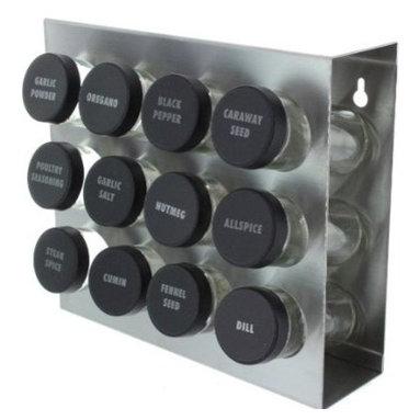 PRODYNE - Prodyne M912 Stainless Steel Spice Rack 12 Bottle Black Lid - Prodyne M912 Stainless Steel Spice Rack 12 Bottle Black Lid