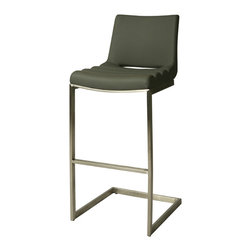 """Pastel Furniture - Emily 30"""" Barstool In Pu Gray - The contemporary Emily Barstool has a simple yet elegant design that is perfect for any decor. An ideal way to add a touch of modern flair to any dining or entertaining area in your home. This barstool features a quality metal frame with sturdy legs and f"""