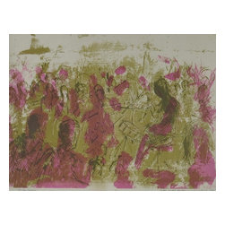 Consigned Contemporarty Watercolor Print of Forest - Original vintage watercolor painting of a musical gathering on fine paper. Full of pink and green color.