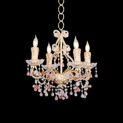 """Crystorama - Country - Cottage Annabella Four Light Colored Crystal Chandelier - This elegant four light chandelier offers a small dash of color and style. Its small profile lends itself to bedrooms or small room settings. It features beautiful clear and pink rose crystal drops set against a champagne-colored frame. From the Crystorama collection of chandeliers. It measures 12""""H by 14""""W and takes (4) 60 watt candelabra bulbs (not included).  Annabella chandelier.  Clear and pink rose crystals.  4 lights in faux wax drip cups.  Champagne finish frame.  Small size and profile.  Design by Crystorama.  Takes four 60 watt candelabra bulbs (not included).  14"""" wide.  12"""" high."""
