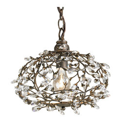 Kathy Kuo Home - Traditional Dream Branch Crystal Bud Orb Round Pendant - A crystal bud and metal branch detail makes this dream pendant a great example of organic style lighting.  Using a single bulb, the simplicity and good looks of this nature inspired piece make it a great choice for rustic, French country, and vintage inspired spaces.