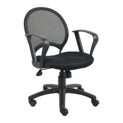 """Boss Chairs - Boss Chairs Boss Mesh Chair with Loop Arms - Open mesh back designed to prevent body heat and moisture build up. Solid metal back frame with a ballistic nylon wrap. Breathable mesh fabric seat with ample padding. Loop arms.. 25"""" nylon base. Adjustable tilt tension control. Hooded double wheel casters. Upright locking position. Pneumatic gas lift seat height adjustment."""