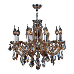 "Worldwide Lighting - Catherine 8 Light Chrome Finish & Amber Crystal Chandelier 22"" x 22"" - This stunning 8-light Chandelier only uses the best quality material and workmanship ensuring a beautiful heirloom quality piece. Featuring a radiant chrome finish and finely cut premium grade amber (translucent yellowish-orange) crystals with a lead content of 30%, this elegant chandelier will give any room sparkle and glamour. Worldwide Lighting Corporation is a privately owned manufacturer of high quality crystal chandeliers, pendants, surface mounts, sconces and custom decorative lighting products for the residential, hospitality and commercial building markets. Our high quality crystals meet all standards of perfection, possessing lead oxide of 30% that is above industry standards and can be seen in prestigious homes, hotels, restaurants, casinos, and churches across the country. Our mission is to enhance your lighting needs with exceptional quality fixtures at a reasonable price."