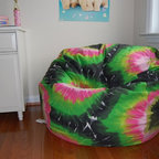 "Bean Bag Chairs for Girls Rooms - Ahh! Products Tie Dye printed cotton bean bag chair in green-multi colorway. Remove and wash cover, water-repel liner. 27"" small size. 10 year warranty, Made in USA."