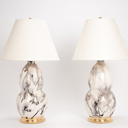 Pair of Modern Double Gourd Lamps, Brown and White Marble - These good-looking lamps have voluptuous shapes and beautiful marble patterns. Add them to your living room or dining room for a bit of sophistication and understated glamour.