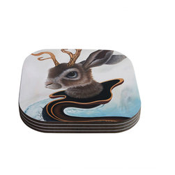 """Kess InHouse - Graham Curran """"Lucid Jack"""" Brown Rabbit Coasters (Set of 4) - Now you can drink in style with this KESS InHouse coaster set. This set of 4 coasters are made from a durable compressed wood material to endure daily use with a printed gloss seal that protects the artwork so you don't have to worry about your drink sweating and ruining the art. Give your guests something to ooo and ahhh over every time they pick up their drink. Perfect for gifts, weddings, showers, birthdays and just around the house, these KESS InHouse coasters will be the talk of any and all cocktail parties you throw."""
