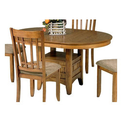 Liberty Furniture - Santa Rosa Casual Pub Table - Chairs sold separately. One 18 in. leaf. Pedestal base. Gear track leaf slide system. Warranty: One year. Made from select hardwoods and oak veneers. Mission oak finish. Made in Malaysia. Minimum: 66 in. L x 48 in. W x 30 in. H. Maximum: 84 in. L x 48 in. W x 30 in. H (114 lbs.)