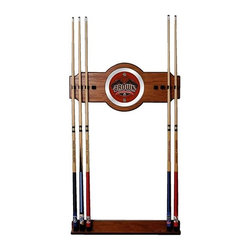Trademark Global - Wood Wall Billiard Cue Rack w Brown Universit - Cue sticks not included. 8 Cue capacity. Furniture grade look. 2 pc. Medium oak veneered wood cue rack. 10 in. Dia. full color logo mirror. 30 in. L x 13 in. W x 4 in. H (10 lbs.)This Officially Licensed NCAA Wood/Mirror Wall Cue Rack will fit in the decor of any billiard room. Show your support for your favorite team!