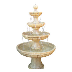 "Serenity Health & Home Decor - Four Tier Courtyard Fountain - 41""Lx41""Wx65""H Weight: Approx. 135 lbs."