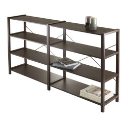 "Winsome Wood - Winsome Wood Sheldon 2X, 4-Tier Crossed Wired Shelf X-55404 - Sheldon 4-Tier Shelf is versatile with it's width at 56"".   Use it to store books, magazine files or even dub as TV stand for your flat screen.  X metal cross on the back lends to design plus gives stability.  Overall size is 56.10""W x 12.06""D x 34.41""H.  Distance between each shelf is 9.84"". Veneer with composite wood in cappuccino finish.  Assembly required."
