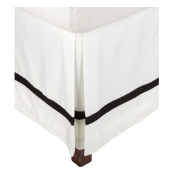 """Hotel Collection 300 Thread Count Cotton White/Black Twin XL Bed Skirt - A hotel luxury way to decorate your bedroom with a 300 Thread Count Bed Skirt. The perfect complement to a guest bedroom or master suite! These 300 thread count bed skirts of premium long-staple cotton are """"sateen"""" because they are woven to display a lustrous sheen that resembles satin. Coordinate with our Hotel Collection Duvet Cover Sets and Bed-skirts! Dimensions: 38x80."""