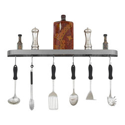 Hi-Lite MFG - Baker Wall Rack in Satin Steel Finish - Includes six rack hooks. Accessories not included. Projection: 3.5 in.. Made from steel. 34 in. L x 2 in. HHi-Lite achieved success through attention to detail and stubbornness to only manufacture the highest quality product. Hi-Lite has built its reputation as a premier lighting manufacturer by using only the finest raw materials, inspirational designs, and unparalleled service. This allows us great flexibility with our designs as well as offering you the unique ability to have your custom designs brought to light.