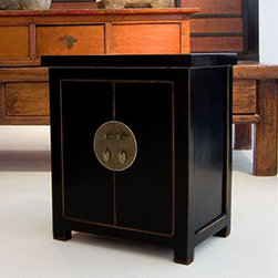 Brass Circle Black Lacquer - With the black lacquer and Asian-inspired design, this side table adds a global style to any room.