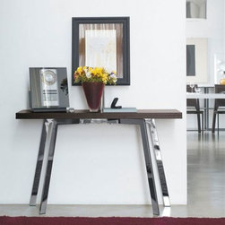 Ark Console - Console/table with wooden top. Hide leather or chromed steel frame.