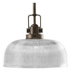 Progress Lighting - Progress Lighting P5026-74 1-Light Pendant with Clear Prismatic Glass Shade - Progress Lighting P5026-74 1-Light Pendant with Clear Prismatic Glass Shade