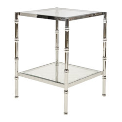 """Worlds Away - Worlds Away Bamboo Side Table-Available in Two Different Colors, Nickel Plated - This lovely side table features a bamboo style frame in Gold Leaf or Nickel Plated and has clear glass shelves. The table measures 20""""W X 20""""D X 26""""H."""