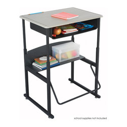 """Safco - AlphaBetter Desk, 28 x 20 Standard Top with Book Box - With the AlphaBetter Desk students have a new desire to learn. Designed for students in grades 3-12, the AlphaBetter Desk easily adjusts from 26"""" to 42"""" high to allow students the choice to stand or sit while in the classroom. With our exclusive patented Pendulum Footrest Bar students have a new way to sway! The footrest allows students to swing their feet providing extra movement to burn off excess energy. In addition it helps to correct posture. The steel frame with Black powder coat finish is built for long lasting durability. The MDF top is covered with extremely durable Beige 3D thermoplastic laminate. The steel book box stores books and supplies and a lower shelf provides additional storage space.; Features: Material: Steel (Base), 5/8"""" MDF - Medium Density Fiberboard (Top), 1/4"""" Phenolic (Shelf); Finished Product Weight: 38 lbs.; Assembly Required: Yes; Tools Required: Yes; Limited Lifetime Warranty; Dimensions: 28""""W x 20""""D x 26"""" to 42""""H"""