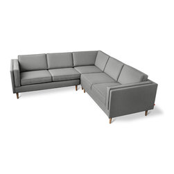 Gus Modern - Gus Modern Adelaide Bi-Sectional Sofa - Muskoka Shale - This streamlined, sleek sectional couch, in a subtle muskoka shale color, gives you the opportunity to live in the past, present and future — all at once. With its classic style and modern lines, you'll be just as happy with the looks of this timeless piece as you will be falling asleep on it.