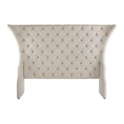 Kathy Kuo Home - Olivia French Country Linen Button Tufted Head Board- King - A distinctive headboard can bring the whole bedroom together, adding a feeling of effortless style and luxury. This Hollywood Regency headboard is particularly appealing with its outwardly tapered corners and a the perfect shade of griege, button-tufted linen.  Let the dreaming begin!