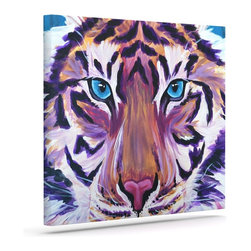 "Kess InHouse - Brienne Jepkema ""Purple Tiger"" Orange White Wrapped Art Canvas (20"" x 16"") - Bring your outdoor patio to life with this artistic outdoor canvas wrap featuring gorgeous artwork by KESS InHouse. These canvases are not only easy to hang and remove but also are the perfect addition to your patio collection. These canvases are stretched around a wooden frame and are built to withstand the elements and still look artistically fabulous. Decorating your patio and walls with these prints will add the splash of art and color that is needed to bring your patio collection together! With so many size options and artwork to choose from, there is no way to go wrong with these KESS Canvas Wraps!"