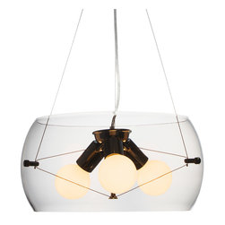 Space Odyssey Pendant - We love the idea of hanging this pendant above your kitchen or coffee table, or in your modern-chic office. Crafted from glass, the Space Odyssey Pendant works well in any room, no matter the decor. Simple yet intriguing, chic yet industrial, this pendant will add a touch of modern sophistication wherever it hangs.