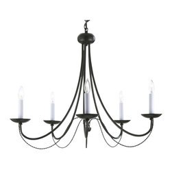 gallert - Versailles Wrought Iron 5-Light chandelier - Black - This beautiful chandelier from the Versailles Collection has 5 Lights. The frame is Wrought Iron, adding the finishing touch to a wonderful fixture. Requires (5) 40 watt candelabra bulbs - not included. Item needs to be hardwired. Professional installation is recommended.