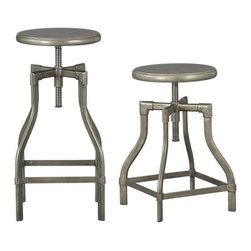 Turner Barstools | Crate and Barrel - The classic adjustable industrial stool that so many of our parents and grandparents are familiar with-generations have used these stools at work, at school. Timeless.