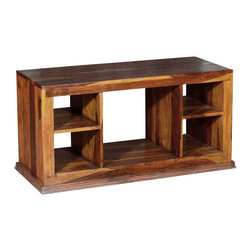 "Sierra Living Concepts - Contemporary Solid Wood Open Shelf TV Stand Media Console - Keep things comfortable and easy with our smart Dallas Contemporary Solid Hardwood Open Shelf TV Stand Media Console. This solid hardwood television cabinet is built with Indian Rosewood, a premium hardwood known for its strength and easily recognized for its dynamic dark and light wood grain patterns. This media storage system has a large single shelf center section and two cubbies on either side. The large 42"" by 18"" surface holds most TVs and the open back design offers easy access to outlets and shared connections."