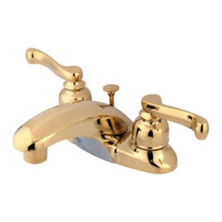 """Kingston Brass - Two Handle 4"""" Centerset Lavatory Faucet with Brass Pop-up KB8622FL - This bathroom faucet proves that classic and modern themes can coexist in the same d_cor style. The simple clean, contemporary spout with French curves levers give collection its unique styling. This faucet has a deck mount setup and features a 4"""" centerset installation. The body is fabricated from solid brass for durability and long-lasting use. The color finish is made of polished brass for that golden reflective shine, as well as resisting scratches, corrosion and tarnishing. The spout has a reach of 4"""" and a height of 2-3/4"""". The handles allow for easy management of water volume and temperature. The faucet operates with a washerless disc valve for droplet-free functionality with the water measured 2.2 GPM (8.3 LPM) and a 60 PSI maximum rate.  An integrated removable aerator is inserted beneath the spout's head piece for conserving water flow. A brass pop-up drain in a matching finish is included. All mounting hardware is included and standard US plumbing connections are used. A 10-year limited warranty is provided to the original consumer.. Manufacturer: Kingston Brass. Model: KB8622FL. UPC: 663370001284. Product Name: Two Handle 4"""" Centerset Lavatory Faucet with Brass Pop-up. Collection / Series: Royale. Finish: Polished Brass. Theme: Contemporary / Modern. Material: Brass/Zinc Alloy. Type: Faucet. Features: Drip-free washerless cartridge system"""