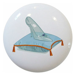 Carolina Hardware and Decor, LLC - Glass Slipper Fairytale Ceramic Knob - 1 1/2 inch white ceramic knob with one inch mounting hardware included.  Great as a cabinet, drawer, or furniture knob.  Adds a nice finishing touch to any room!