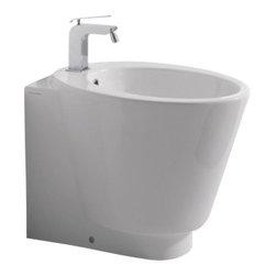 Scarabeo - Modern Round White Ceramic Floor Bidet - Round, modern white ceramic floor bidet.