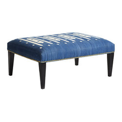 MIDNIGHT BLUE DHURRIE OTTOMAN - NEW - A centuries-old favorite, the rich blue hue and exquisite embroidery of this ottoman is a definite eye-catcher. Embodying the craft of traditional dhurrie rugs, this piece is carefully crafted by hand—woven and finished with brass tacks by skilled artisans. This Old World charmer works equally as well as a decorative coffee table (though we recommend using a tray) or a last minute seating solution. Handcrafted, so slight variances in color may occur.