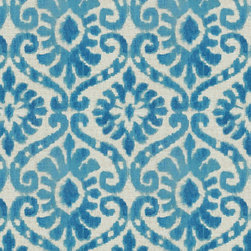 Sunbrella - Blue Floral Peacock Fabric - Sold by the yard, 36 inches, at 54 inch width.