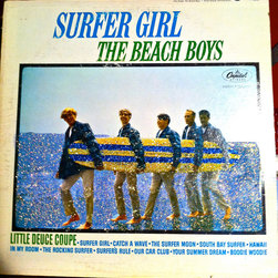 """Glittered Beach Boys Album - Glittered record album. Album is framed in a black 12x12"""" square frame with front and back cover and clips holding the record in place on the back. Album covers are original vintage covers."""