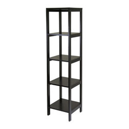 """Winsome - Hailey Modular Audio Rack - Features: -Storage space.-Designed to stand alone or be paired with other piece.-Solid and composite wood construction.-Hailey collection.-Material: Solid / Composite wood.-Product Care: Wipe clean with damp cloth.-Finish: Dark Espresso.-Powdercoat Finish: No.-Number of Shelves: 4.-Adjustable Shelving: No.-Scratch Resistant Shelves: No.-Cloth Back Detail: No.-Multimedia Storage: No.-Casters: No.-Sand Lead Fillable: No.-Stabilizer Feet: No.-Lighted: No.-Cable Management: No.-Distressed: No.-Hardware Included: Yes.-Weight Capacity: 100 Lbs.-Shelf Weight Capacity: 20 Lbs.Dimensions: -Assembled Dimensions Height: 60.43"""".-Assembled Dimensions Width: 15.04"""".-Assembled Dimensions Depth: 15.04"""".-Shelf Depth: 12.68"""".-Shelf Width: 13.46"""".-Open Storage Area Height: 13.19"""".-Open Storage Area Width: 13.19"""".-Open Storage Area Depth: 13.19"""".-Assembled Weight: 34 lbs.Assembly: -Assembly Type: Assembly Required.Warranty: -Product Warranty: 60 Days replacement parts from date of purchased."""